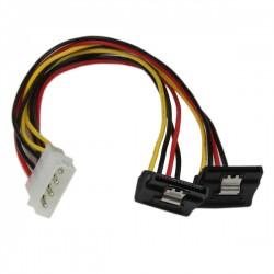 StarTech.com - Adaptador Cable 30cm Divisor de 4 Pines LP4 a Doble SATA en Ángulo Derecho Cierre Seguridad