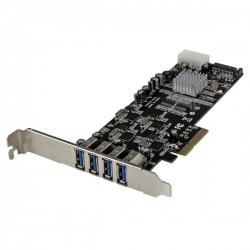 StarTech.com - Adaptador Tarjeta PCI Express PCI-E 4 Puertos USB 3.0 UASP 2 Canales de 5Gbps con Alimentación Molex