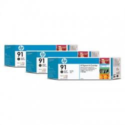 HP - Pack de 3 cartuchos de tinta 91 negro mate de 775 ml