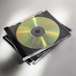 Fellowes - 98310 Caja transparente para CD 2discos Negro, Transparente funda para discos ópticos