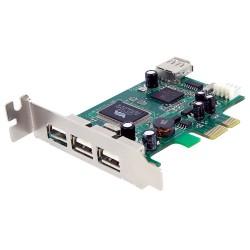 StarTech.com - Adaptador Tarjeta PCI Express Perfil Bajo USB 2.0 Alta Velocidad - 3 Externos y 1 Interno