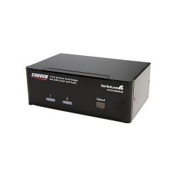 StarTech.com - Conmutador Switch KVM de 2 Puertos Doble Monitor DVI Audio 4 Puertos USB 1920x1200
