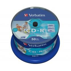 Verbatim - CD-R AZO Wide Inkjet Printable no ID CD-R 700MB 50pieza(s)