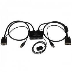 StarTech.com - Switch Conmutador KVM de Cable con 2 Puertos VGA USB Alimentado por USB con Interruptor Remoto