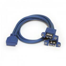 StarTech.com - Cable Extensor 50cm 2 Puertos USB 3.0 para Montaje en Panel conexión a Placa Base - Hembra USB A