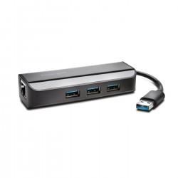 Kensington - Adaptador UA3000E USB 3.0 Ethernet y hub de 3 puertos: negro