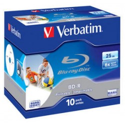 Verbatim - BD-R SL 25GB 6x Printable 10 Pack Jewel Case BD-R 25GB 10pieza(s)