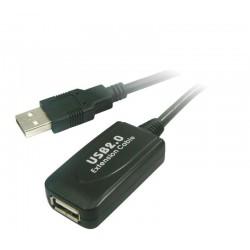 Nanocable - CABLE USB 2.0 PROLONGADOR CON AMPLIFICADOR, TIPO A/M-A/H, 5.0 M