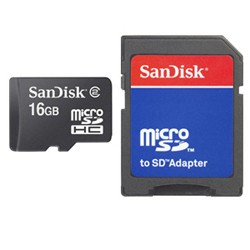 Sandisk - microSD Card 16GB + Adapter memoria flash