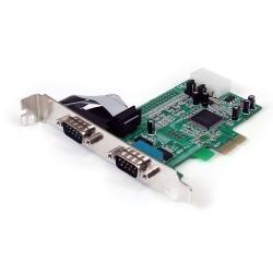 StarTech.com - Tarjeta Adaptadora PCI Express PCIe de 2 Puertos Serie RS232 DB9 UART 16550 Serial