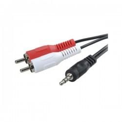3GO - CA101 2m 3.5mm 2 x RCA Negro cable de audio