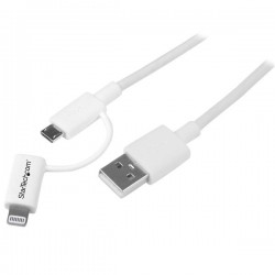 StarTech.com - Cable Adaptador de 1m Apple Lightning o Micro USB a USB - Blanco