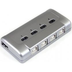 StarTech.com - Conmutador Interruptor para Compartir USB Sharing Switch - 1 Periférico - 4 Ordenadores