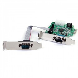 StarTech.com - Tarjeta Adaptadora PCI Express PCIe Perfil Bajo de 2 Puertos Serie RS232 UART 16950 Serial