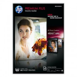 HP - Papel fotográfico semibrillante Premium Plus - 20 hojas/A4/210 x 297 mm