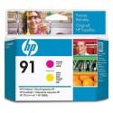 HP - Cabezal de impresión 91 magenta y amarillo