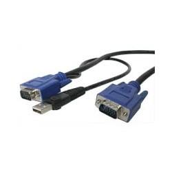 StarTech.com - Cable KVM de 4,5m Ultra Delgado Todo en Uno VGA USB HD15 - 2 en 1 cable para video, teclado y ratón