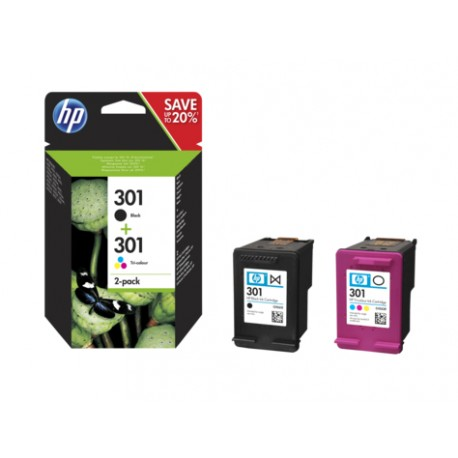 HP - 301 2-pack Black/Tri-color Original Ink Cartridges - 19264214