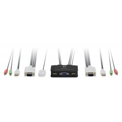 LevelOne - KVM de 2 puertos, VGA, USB, Audio