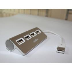 CoolBox - HUBCOO4ALU2 hub de interfaz USB 2.0 480 Mbit/s Plata