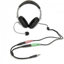 StarTech.com - Adaptador de Auriculares con Micrófono Mini-Jack 3,5mm 4 pines a Conectores Separados de Auriculares