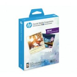 HP - 25 hojas de 10 x 13 cm de papel fotográfico adhesivo extraíble para Social Media Snapshots