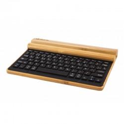 SilverHT - Bamboo Multidevice Keyboard USB + Bluetooth QWERTY Español Madera teclado para móvil