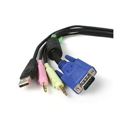StarTech.com - Cable KVM Audio y Vídeo de 1,8m Todo en Uno VGA USB A USB B HD15 Mini Jack Micrófono Altavoces - 4 e