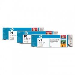 HP - Pack de ahorro de 3 cartuchos de tinta 91 gris claro de 775 ml
