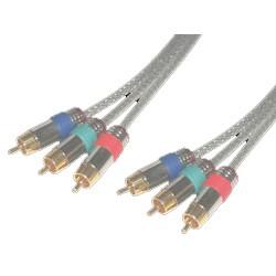 MCL - Cordons video YUV RCA hautes qualites translucides gold 10 metres 10m 3 x RCA 3 x RCA componente ( YPbPr) cab