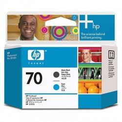 HP - Cabezal de impresión DesignJet 70 cian/negro mate