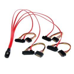 StarTech.com - Cable de 50cm SAS Serial Attached SCSI SFF 8087 a 4x SATA Datos y Corriente Alimentación - Rojo
