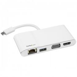 StarTech.com - Adaptador Multipuertos USB-C para Ordenadores Portátiles - HDMI o VGA 4K - USB 3.0 - Blanco y Plateado