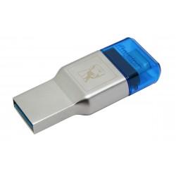 Kingston Technology - MobileLite Duo 3C USB 3.0 (3.1 Gen 1) Type-A/Type-C Azul, Plata lector de tarjeta