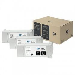 HP - Pack de ahorro de 3 cartuchos de tinta colorante DesignJet 81 negro de 680 ml