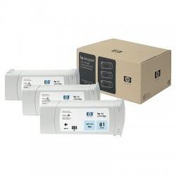 HP - Pack de ahorro de 3 cartuchos de tinta colorante DesignJet 81 cian claro de 680 ml
