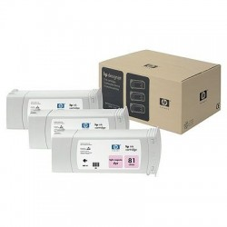HP - Pack de ahorro de 3 cartuchos de tinta colorante DesignJet 81 magenta claro de 680 ml