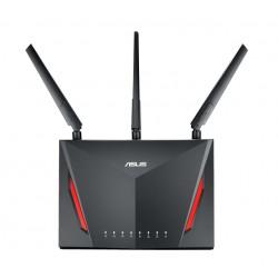 ASUS - RT-AC86U router inalámbrico Doble banda (2,4 GHz / 5 GHz) Gigabit Ethernet Negro
