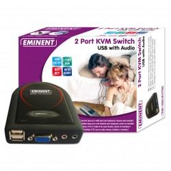 Eminent - 2 Port KVM Switch USB w/ Audio Negro interruptor KVM