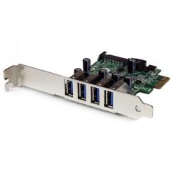 StarTech.com - Tarjeta Adaptador PCI Express PCI-E USB 3.0 con UASP de 4 Puertos - Alimentación SATA