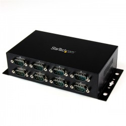 StarTech.com - Adaptador Hub Concentrador USB a 8 Puertos Serie RS232 Industrial Montaje en Pared Riel DIN