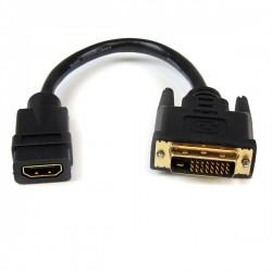 StarTech.com - Adaptador de 20cm HDMI a DVI - DVI-D Macho - HDMI Hembra - Cable Conversor de Vídeo - Negro