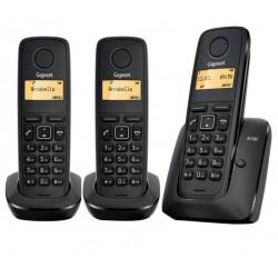 Gigaset - A120 Trio Teléfono DECT Negro Identificador de llamadas