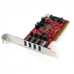 StarTech.com - Tarjeta Adaptador PCI USB 3.0 SuperSpeed de 4 puertos con Conector LP4 SATA - Hub Concentrador Inter
