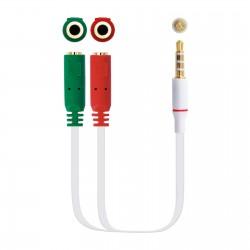 Nanocable - Cable adaptador Audio Jack 3.5/M 4pines - 2xJack 3.5/H 3pines, blanco, 20 cm