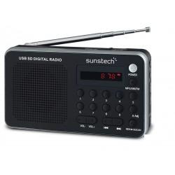 Sunstech - Portable digital AM/FM silver radio Portátil Analógica Negro, Plata