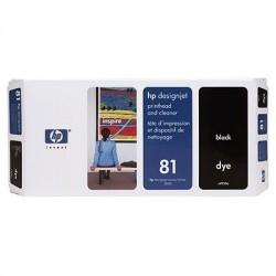 HP - Limpiador de cabezales de impresión y cabezal de impresión colorante DesignJet 81 negro