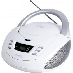 Denver Electronics - TCU-211WHITE reproductor de CD Reproductor de CD portátil Plata, Blanco