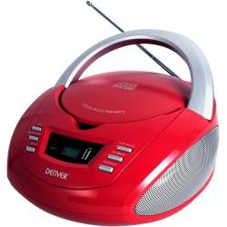 Denver Electronics - TCU-211RED reproductor de CD Reproductor de CD portátil Rojo, Plata