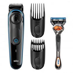 Braun - BT3940 afeitadora Máquina de afeitar de láminas Recortadora Negro, Azul